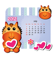 july horse calendar vector image