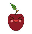 kawaii apple fruit with leave cartoon vector image