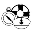 maritime compass hat and lifebuoy vector image