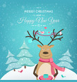 merry christmas happy new year card template deer vector image vector image