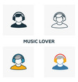 music lover icon set four elements in diferent vector image
