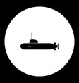 one military submarine simple black icon eps10 vector image vector image