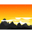 orange picture with mountains clouds and s vector image