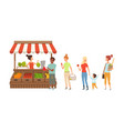 people queue to street counter kiosk with fresh vector image