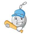 playing baseball wrecking shattering ball on wall vector image vector image