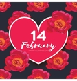 Red Peony Flowers Heart frame 14 february Happy vector image vector image