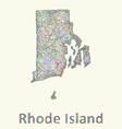 Rhode Island line art map vector image vector image