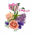 roses lilies tulips flowers herbs and berries vector image vector image