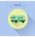 RV camping icon Caravan button in flat design vector image vector image