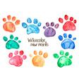 Set of watercolor animal footprints vector image