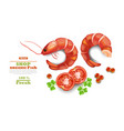 shrimps isolated on white realistic 3d vector image vector image