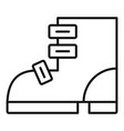 ski boot icon outline style vector image vector image