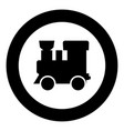 steam locomotive - train black icon in circle vector image vector image