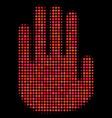 stop hand halftone icon vector image vector image