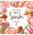 sushi frame sea food poster with lettering vector image vector image
