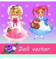 Two cute little dolls on a pink background vector image vector image