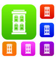 two-storey house with large windows set collection vector image vector image