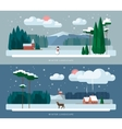 winter landscape backgrounds set in flat style vector image vector image
