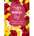 women day greeting card with spring flower frame vector image vector image