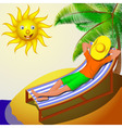 A man resting on a deckchair on a sunny day vector image