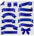 big blue ribbons set vector image