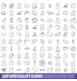 100 specialist icons set outline style vector image vector image