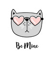 be mine hand drawn greeting card with valentines vector image vector image