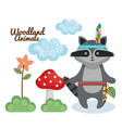 beaver woodland animal with feather crown vector image