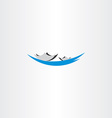 boat in lake sign logo vector image