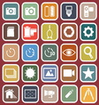 Camera flat icons on red background vector image vector image