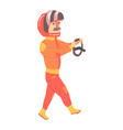 car racing driver man in an orange uniform and vector image vector image