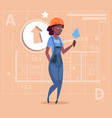 cartoon female builder african american wearing vector image vector image