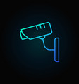 cctv security camera blue line icon or vector image vector image