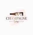 champagne bottle watercolor logo on white design vector image
