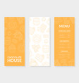 chocolate house menu card template chocolate vector image