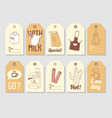 coffee hand drawn tags collection vintage style vector image