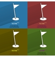 Color set golf flag Flat modern web button with vector image
