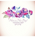 colorful watercolor rose floral greeting card vector image vector image