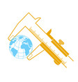 concept calipers measuring the earth vector image vector image