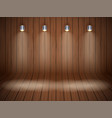 curved wooden background with spotlights vector image vector image