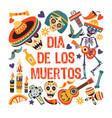dia de los muertos mexican day dead greeting vector image vector image