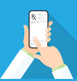 doctor s hand holding a smartphone with rx vector image vector image