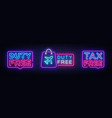 duty free neon signboard collection tax vector image