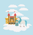 fairy with unicorn in the clouds and castle vector image vector image