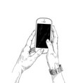 female hands holding a mobile phone on white vector image