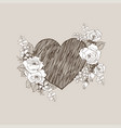 floral design frame with big heart linear vector image vector image