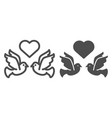 flying pigeons with heart line and glyph icon vector image vector image