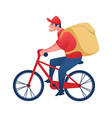 food delivery worker on bicycle cartoon man vector image