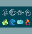 four element icon set and vector image