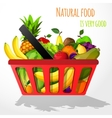 Fruits in shopping basket poster vector image